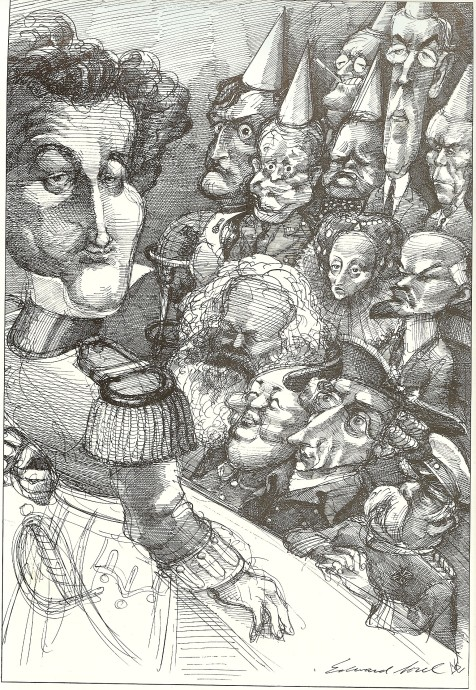 Horizon caption: 'Who would have won the honors if Clausewitz had taught a seminar on war? In Edward Sorel's reunion portrait, the bright students sit up front below their master.' Front row, L-R: Marx, Mao, Frederick the Great, Bismarck. Second row, L-R: Elizabeth I, Lenin. 'Dunces' in the rear, L-R: Napoleon, Eisenhower, F.D. Roosevelt, Churchill, Wilson, Marshall.